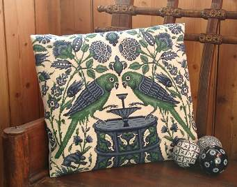 Parrots at a Fountain Tapestry Pillow