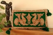 Tapesty Pillow: William de Morgan 'Sands End's Griffins' Green Colourway