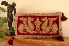 Tapesty Pillow: William de Morgan 'Sands End's Griffins' Red Colourway