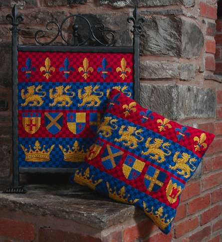 Medieval Heraldic Bands Tapestry Pillow