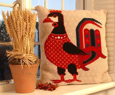 Persian Cockrel Tapestry Pillow