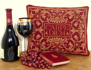 Carpe Diem Tapestry Pillow - Burgundy Colourway