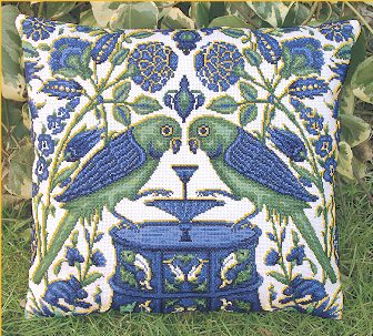 Counted cross stitch kit inspierd by William de Morgan: Parrots at a Fountain