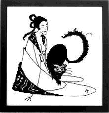 Counted Cross Stitch Kit: Oriental Lady and Cat Cross Stitch Blackwork kit by the Victorian artist Aubrey Beardsley, one of the range of fine cross stitch kits available from Millennia Designs