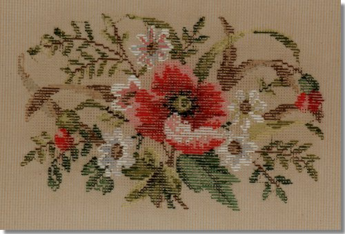 Beverley Trammed Tapestry: Oval Poppies Stool Top