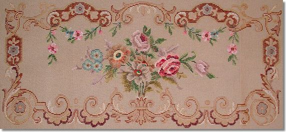 Beverley Trammed Tapestry: Floral Bouquet Longstool with Scroll Edging