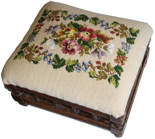 Beverley Trammed Tapestry: Small Floral Footstool