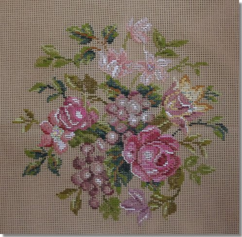 Beverley Trammed Tapestry:  Soft pink floral round stool top
