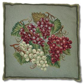 Beverley Trammed Tapestry: Burgundy and White Grapes Cushion