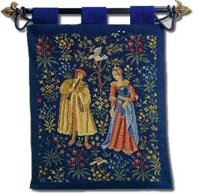 Beverley Trammed Tapestry: Medieval 'Cluny' Hanging - Musician and lady