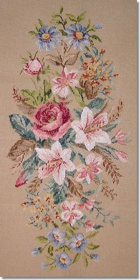 Beverley Trammed Tapestry: Lillies Oval Longstool
