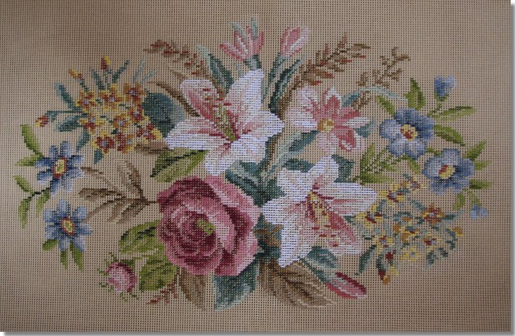 Beverley Trammed Tapestry:  Oval lillies stooltop