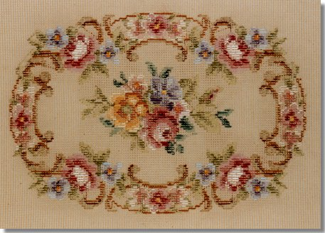 Beverley Trammed Tapestry:  Oval garland stool top