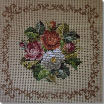 Beverley Trammed Tapestry:  Rose Bouquet with Scroll Frame