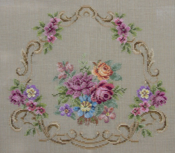 Beverley Trammed Tapestry: Shaped Floral Chairseat with Scrolls