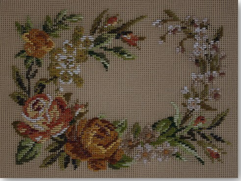 Beverley Trammed Tapestry:  Autumn Roses Rectangular Stool Top
