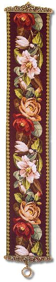 Beverley Trammed Tapestry: Victorian Cabbage Rose and Lily Bellpull