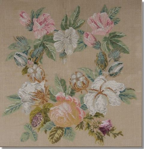 Beverley Trammed Tapestry: Floral Wreath on Fine Mesh