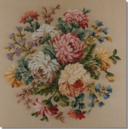 Beverley Trammed Tapestry:  Large mixed floral spray