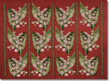 Beverley Trammed Tapestry: Lilly of the Valley Chairseat - Pink