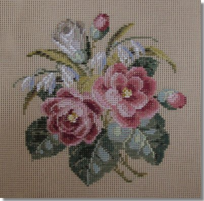 Beverley Trammed Tapestry:  Pink & White Rose Bouquet