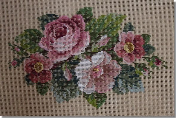 Beverley Trammed Tapestry:  Anemone & Rose Oval Spray
