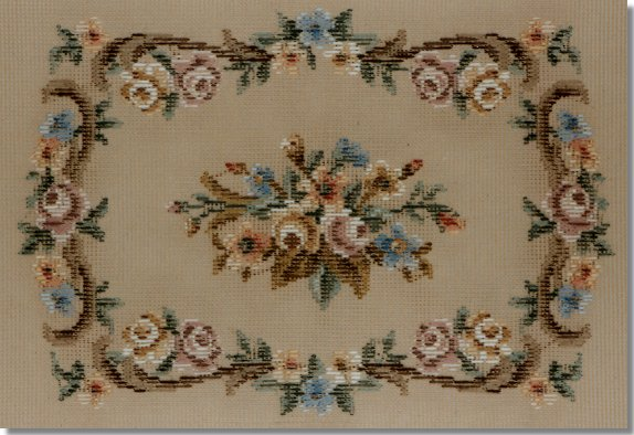 Beverley Trammed Tapestry: Miniature rose and scroll stool top