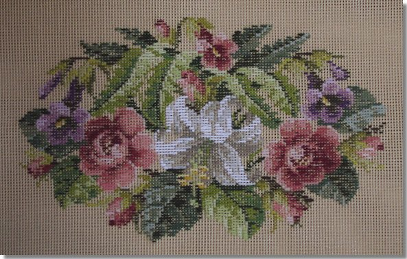 Beverley Trammed Tapestry:  Mixed floral oval spray
