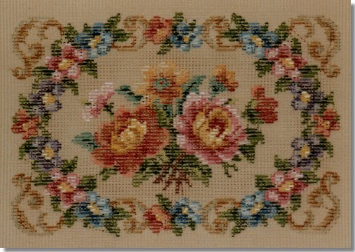 Beverley Trammed Tapestry: Small bright floral stool top