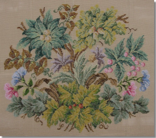 Beverley Trammed Tapestry: Autumn Foilage Shaped Floral Chairseat