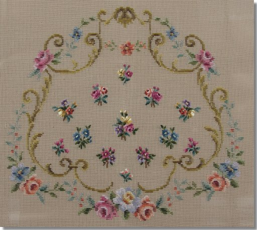 Beverley Trammed Tapestry: Shaped Chair Seat with Scrolls & Miniature Posies