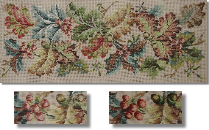 Beverley Trammed Tapestry: Woodland Foliage and Berries Longstool