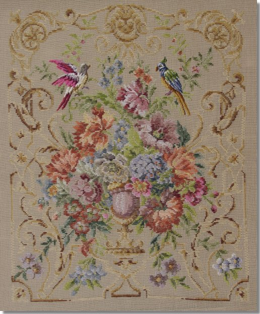 Beverley Trammed Tapestry: Floral and Scroll Firescreen or Picture with Petit Point Birds