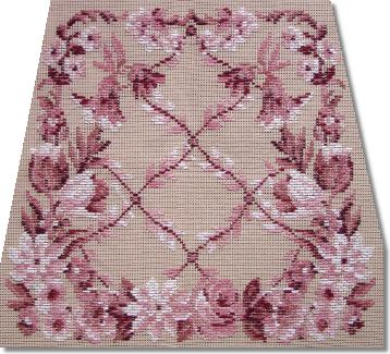 Beverley Trammed Tapestry: Pink Floral Lattice Chairseat