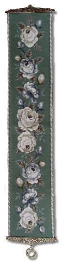 Beverley Trammed Tapestry: Grey and White Cabbage Rose Bellpull