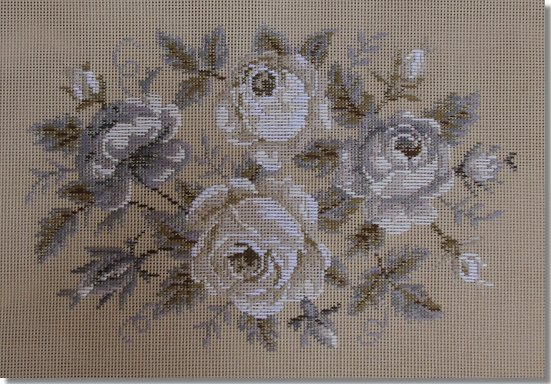 Beverley Trammed Tapestry:  Grey & White Roses Stooltop