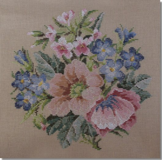 Beverley Trammed Tapestry: Blue and Peach Floral Spray Cushion