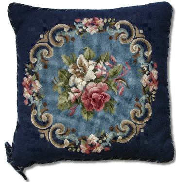 Beverley Trammed Tapestry: Blue and Pink Floral Spray with Border
