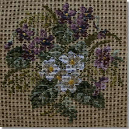 Beverley Trammed Tapestry:  Violet and Primula Bouquet