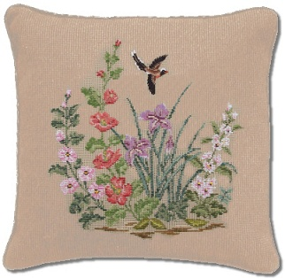 Beverley Trammed Tapestry: Wildflowers with petit point bird