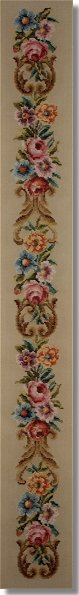 Beverley Trammed Tapestry:  Floral bellpull with scrolls