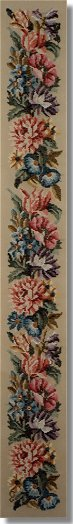 Beverley Trammed Tapestry:  Floral bellpull with poppies & chrysanthemum