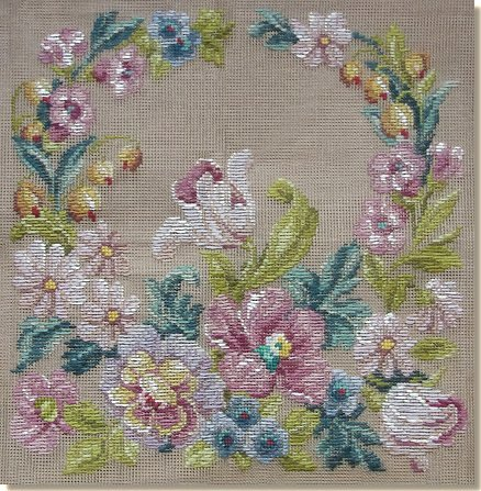 Beverley Trammed Tapestry: Floral Crescent Chair Seat