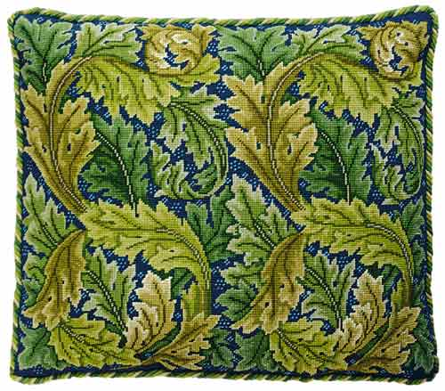 Beth Russell Acanthus Leaves Cushion / Chair Seat Tapestry Kit - Green