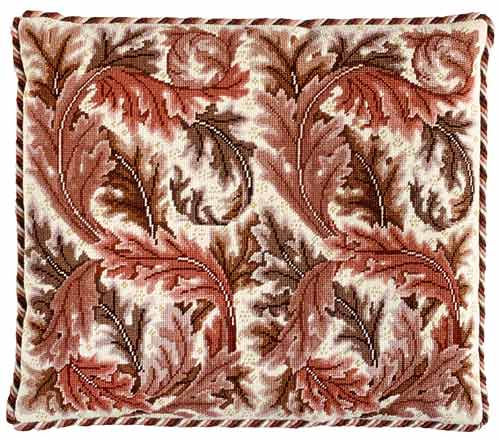 Beth Russell Acanthus Leaves Cushion / Chair Seat Tapestry Kit - Red