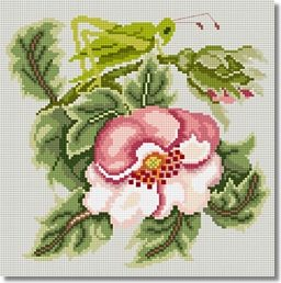 Beth Russell Rose Garden 'Grasshopper' Tapestry Kit - Light Grey