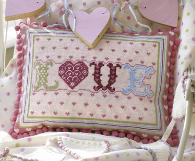 The Historical Sampler Company: Love Heart Patchwork Tapestry Kit
