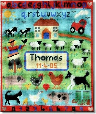Jolly Red Farmyard Tapestry Birth Sampler