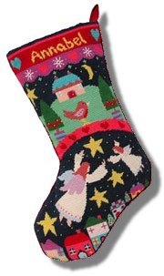 Jolly Red 'Angels' Tapestry Christmas Stocking