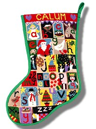 Jolly Red 'Christmas Alphabet' Tapestry Christmas Stocking